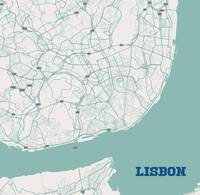 Minimalist Artistic Map of Lisbon, Portugal 3a