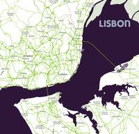 Minimalist Artistic Map of Lisbon, Portugal 2a