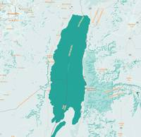 Minimalist Modern Map of Dead Sea Lake and region