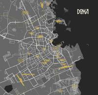 Minimalist Modern Map of Doha, Qatar 6A