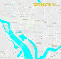 Minimalist Modern Map of Downtown Washington DC, U
