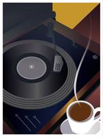 Cup of Coffee and Record Turntable