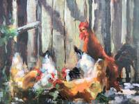 Chickens in Dappled Light