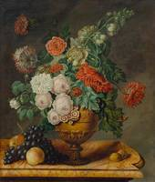 GERMANY, CIRCA 1800 Still-life with flowers and fr