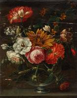 HOLLAND, CIRCA 1700 Flowers in a vase on a stone p