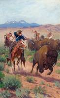 RICHARD LORENZ (1858-1915) The Buffalo Hunters
