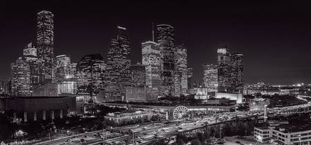 Aerial Houston Skyline BW Pano