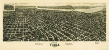 Aero view Map of Tulsa Oklahoma (1918)
