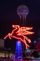 Flying Pegasus and Reunion Tower Night