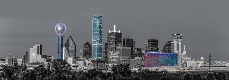 Dallas Skyline Mono Pano