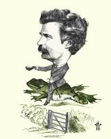 Mark Twan Caricature Colorized 1873 Illustration