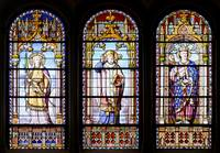 Composition of three stained-glass windows of the