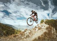 Flying Downhill on a Mountain Bike
