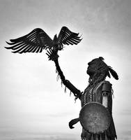 American Indian and Eagle Statue Print