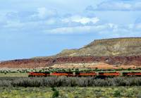 BNSF Train Across New Mexico Landscape