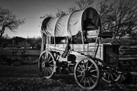 Old Covered Wagon Black & White Wall Art