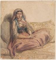 Alexandre-Gabriel Decamps 1803-1860 Seated Orienta