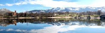 Lake Reflection Panorama Near Segovia Spain