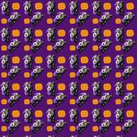 halloween skeleton pumpkin pattern purple