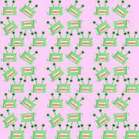 green alien monster pattern pink