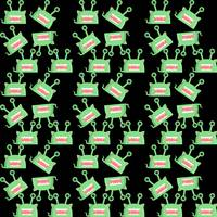 green alien monster pattern black