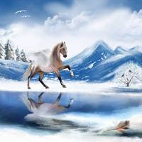 Angel Horse in Winter Wonderland