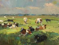 Sunny Day - Cows Resting - Painting Roos Schuring