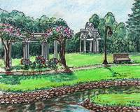 Garden Gazebo and Pond Watercolor Painting