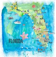 USA Florida Travel Poster Map With Highlights