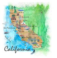 USA California Travel Poster Map With Highlights