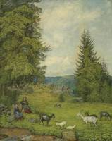 Hans Thoma - Children with goat herd (1916)