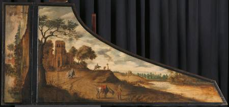 A painting on a harpsichord lid with a hilly lands