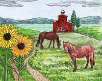 Horses Farm Barn Ans Sunflowers Painting