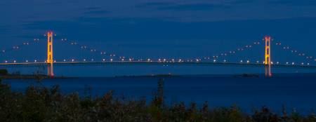 Mackinac Bridge at Night, Michigan