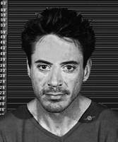 Robert Downey Jr Mug Shot 2001 Black And White