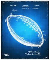 Football Patent Blueprint Drawing Blue