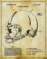 Football Helmet Patent Blueprint Drawing Tan