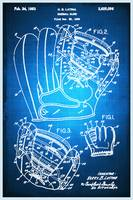 Baseball Glove Patent Blueprint Drawing