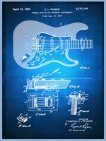 Fender Guitar Patent Blueprint Drawing