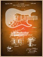 Fender Guitar Patent Blueprint Drawing Sepia