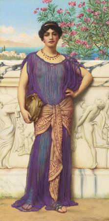 John William Godward ,  THE TAMBOURINE GIRL