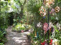 Magical garden with wind chimes and spinners