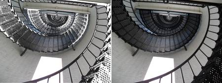 Two images of a spiral staircase