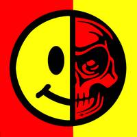 Smiley Face Skull Yellow Red