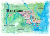 USA Maryland State Travel Poster Map with Touristi