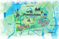 USA Pennsylvania State Travel Poster Map with Tour