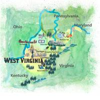 USA West Virginia State Fine Art Print Retro Vinta