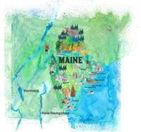 USA Maine State Travel Poster Map with Touristic H