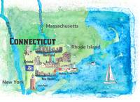 USA Connecticut State Travel Poster Map with Touri