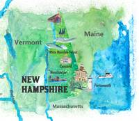 USA New Hampshire State Travel Poster Map with Tou